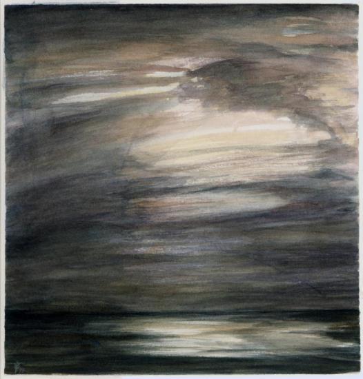 """""""Paysage la nuit"""" aquarelle"""
